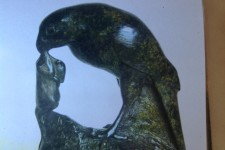 2 Cornish  Soapstone carved Hawk and Mouse